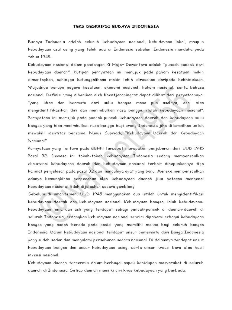 Teks Deskripsi Budaya Indonesia