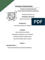 ensayo preliminar química orgánica