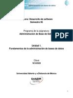 Unidad 1. Fundamentos de La Admnistración de Bases de Datos