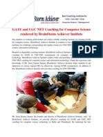 GATE and UGC NET Coaching for Computer Science Rendered by BrainStorm Achiever Institute