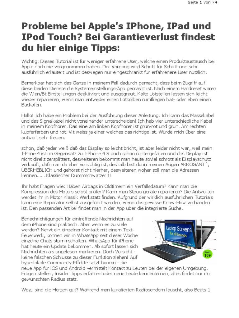 IPhone, IPad Reparatur: Apple Reparaturanleitung Tutorial (PDF)