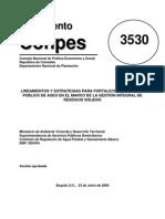 Conpes 3530 Servicio Publico de Aseo 2008