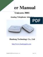 Unicorn 3001 User Manual