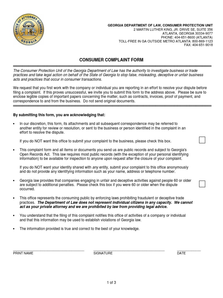 Consumer Complaint Form | Consumer Complaint Form 070115 Saag Consumer Protection Cheque
