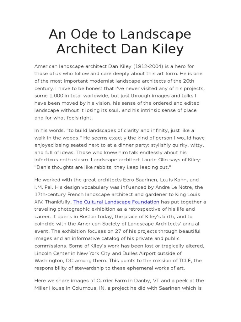 An Ode To Landscape Architect Dan Kiley Landscape Design