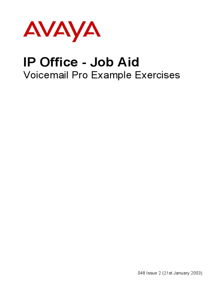 048 Voicemail Pro Exercises Voicemail Telephone