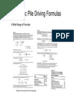 Dynamic Pile Driving Formulae