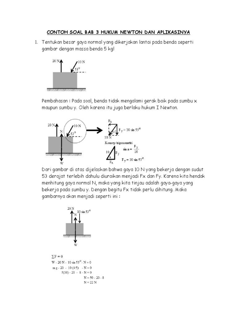 Contoh Soal Bab 3 Hukum Newton Dan Aplikasinya-2