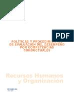 Políticas y Procedimientos de Evaluación Del Desempeño Por Competencias Conductuales