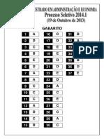 Gabarito Processo Seletivo Mestrado 2014_1 19out2013