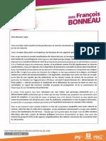 Lettre de Carole Canette à Philippe Vigier