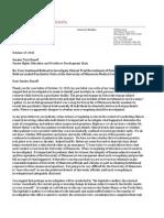 Letter from Leigh Turner to Senator Terri Bonoff October 19 2015