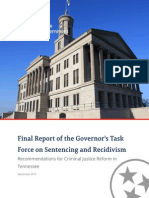 Tennessee Taskforce on sentencing and recidivism, Final Report Sep 2015