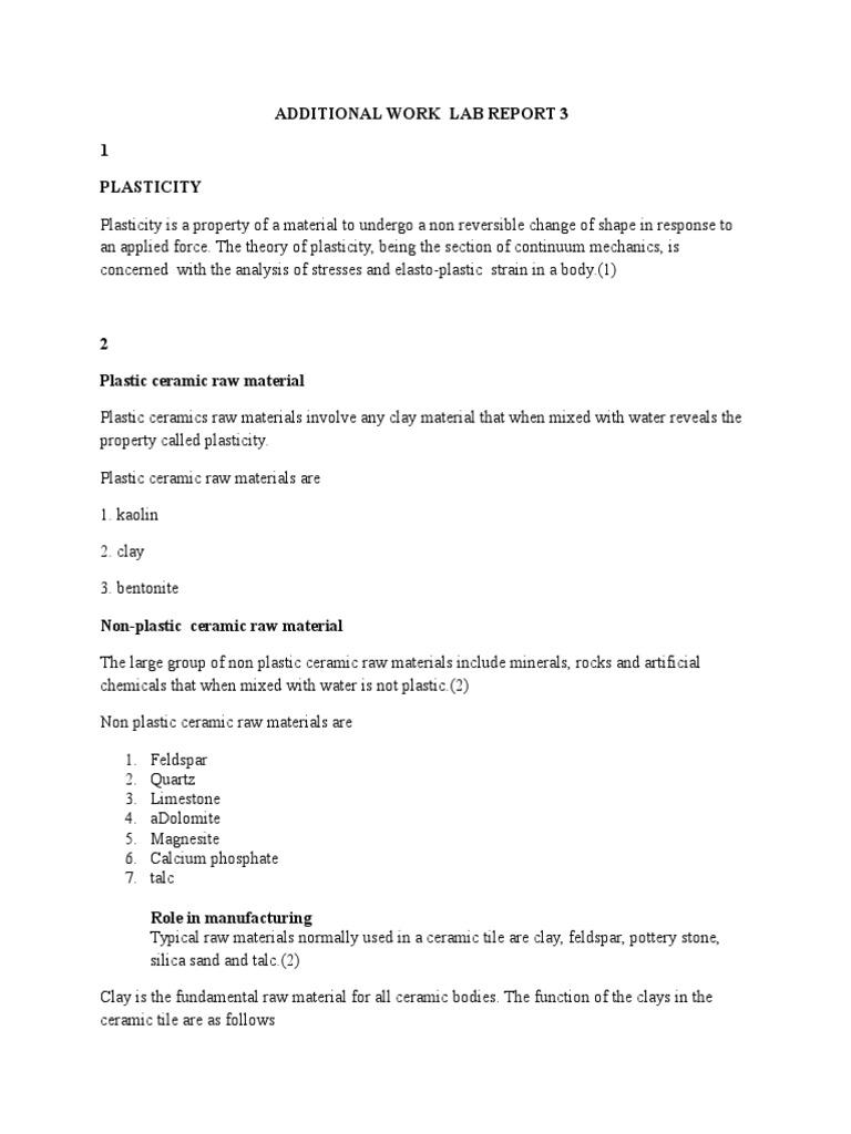 Additional work lab report 3 clay ceramics dailygadgetfo Choice Image