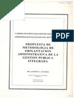Propuesta de metodología de implantación administrativa de la gestión pública integrada.