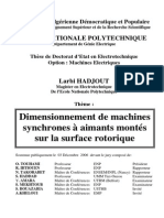 Dimensionnement de Machines Synchrones à Aimants Montés Sur La Surface Rotorique