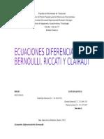 Ecuacion Diferencial de Bernoulli, Riccati y Clairaut
