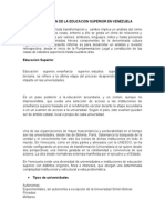 ORGANIZACIÓN DE LA EDUCACION SUPERIOR EN VENEZUELA