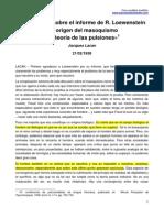 Jacques Lacan - Intervención Sobre El Informe de R. Loewenstein. El Origen Del Masoquismo y La Teoría de Las Pulsiones. 21.02.1938