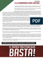 Carta abierta a la comunidad judía chilena