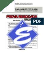 Prova CEFET 2016 (RESOLVIDA)