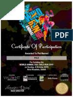 Wild Run 2015 Pet Certificate