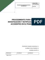 Procedimiento Para La Investigación y Notificación de Accidentes en Eltrabajo