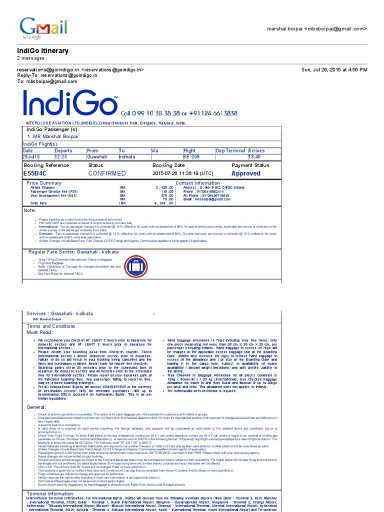 Indigo Itinerary Pdf Identity Document International Airport