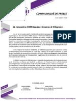 """Communiqué de presse, 25e rencontres CNRS Jeunes """"Sciences et Citoyens"""""""