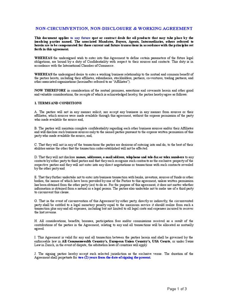 Non Cirmumvention Non Disclosure Working Agreement Non