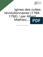 Mathiez, Albert. Les Origines Des Cultes Révolutionnaires