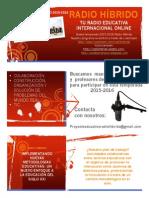 Póster Promocional Proyecto Educativo Radio Híbrido 2015-2016 innovación metodológica