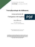 Neurophysiologie du bâillement, revue au travers de l'ontogenèse et de la phylogenèse - Olivier Walusinski