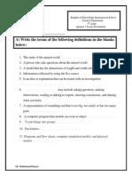 Quarter 1 Science Exam Worksheets