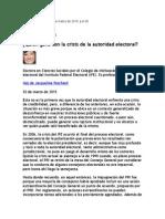 Peschard Jaqueline, Crisis Del INE y Sus Beneficiarios, 2 Marzo 2015