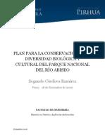 PLAN PARA LA CONSERVACIÓN DE LA DIVERSIDAD BIOLÓGICA Y CULTURAL DEL PARQUE NACIONAL DEL RÍO ABISEO