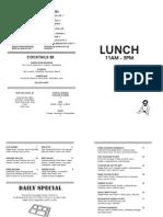 Analogue Lunch Menu