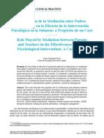 Mediación Entre Padres y Profesores Como Intervención en Infancia