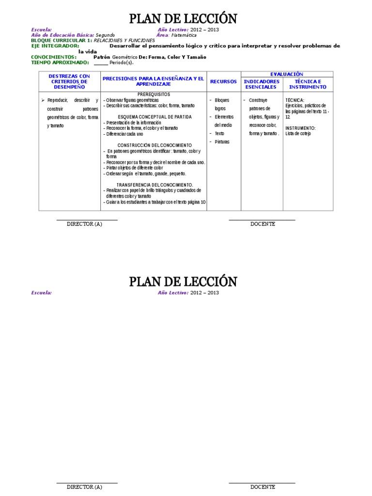 Excepcional Plantilla De Plan De Lección Instructiva Friso - Ejemplo ...