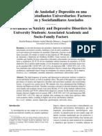 Prevalencia de Ansiedad y Depresión en una Población de Estudiantes Universitarios