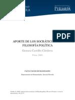 APORTE DE LOS SOCRÁTICOS A LA FILOSOFÍA POLÍTICA