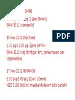 Jadual Exam PISMP Sem 6
