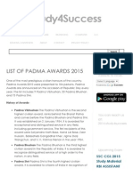 Padma Awards 2015 Complete List