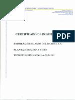 Certificado de Dosificacion
