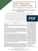 Lower Versus Higher Hemoglobin Threshold for Transfusion in Septic Shock