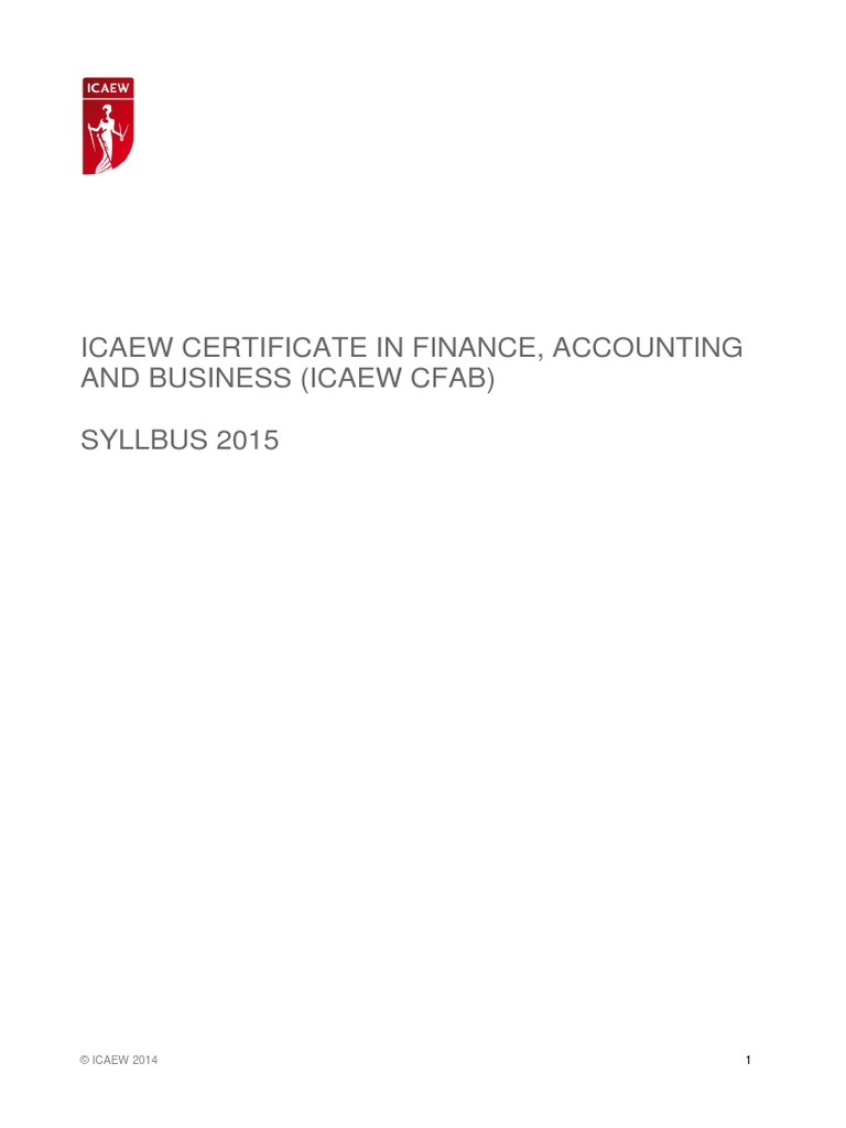 ICAEW CFAB Syllabus and Technical Knowledge Grids 2015 | Audit | Financial  Audit