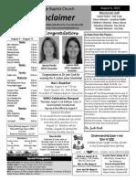 Proclaimer August 6
