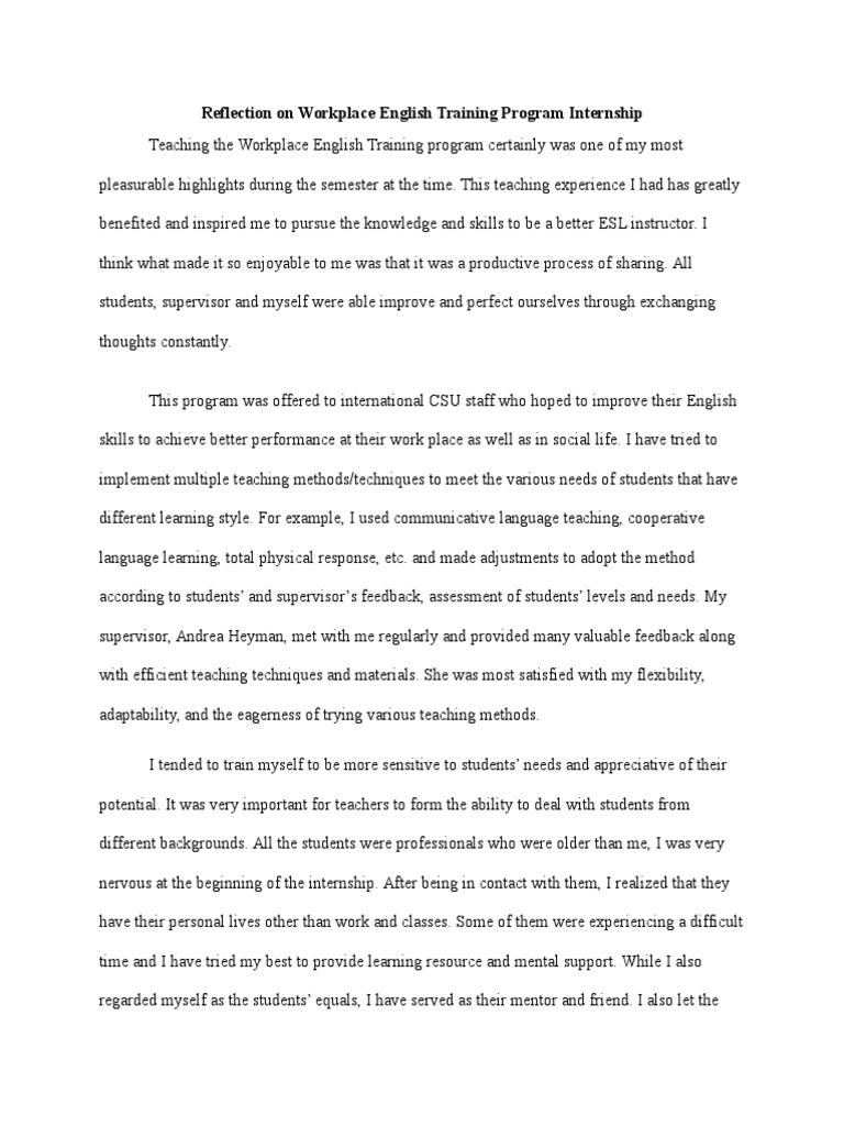 reflection on workplace english training program internship