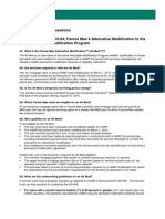 Frequently Asked Questions Fannie Mae's Alternative Modification to the Home Affordable Modification Program