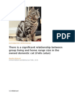 There is a significant relationship between group living and home range in the owned domestic cat (Felis Catus)